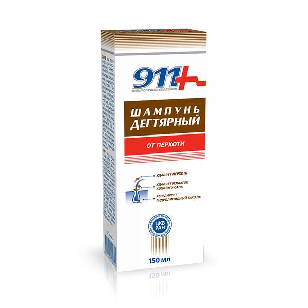 911 шампунь дегтярный при себорее-псориазе-перхоти 150мл