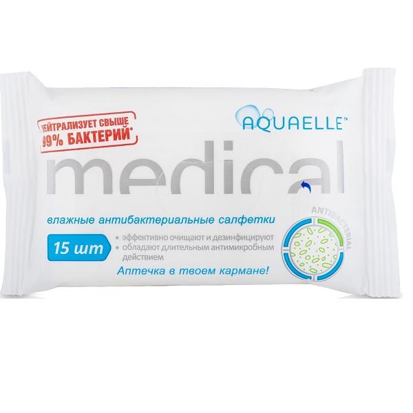Акваэль medical салфетки влажные антибактериальные №15