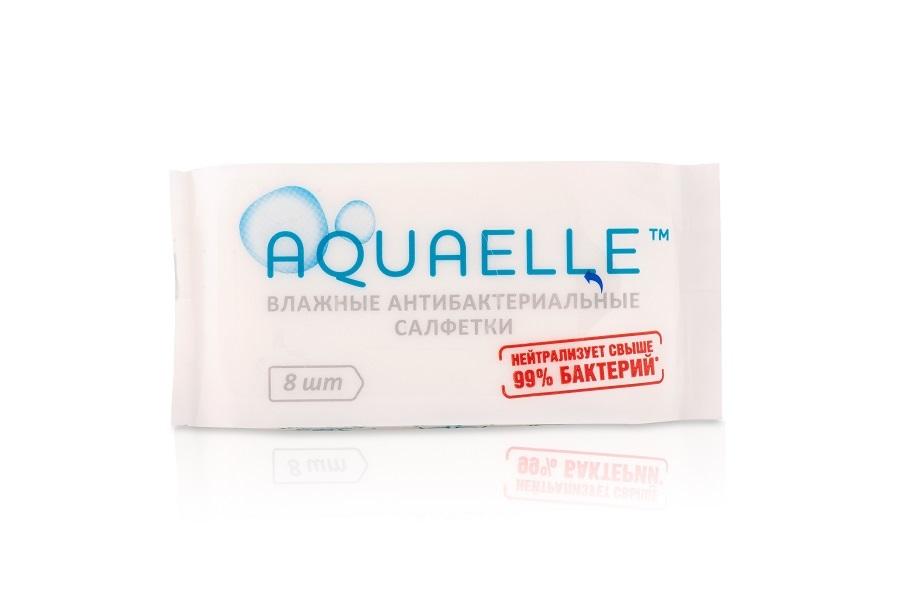 Акваэль влажные актибактериальные салфетки №8
