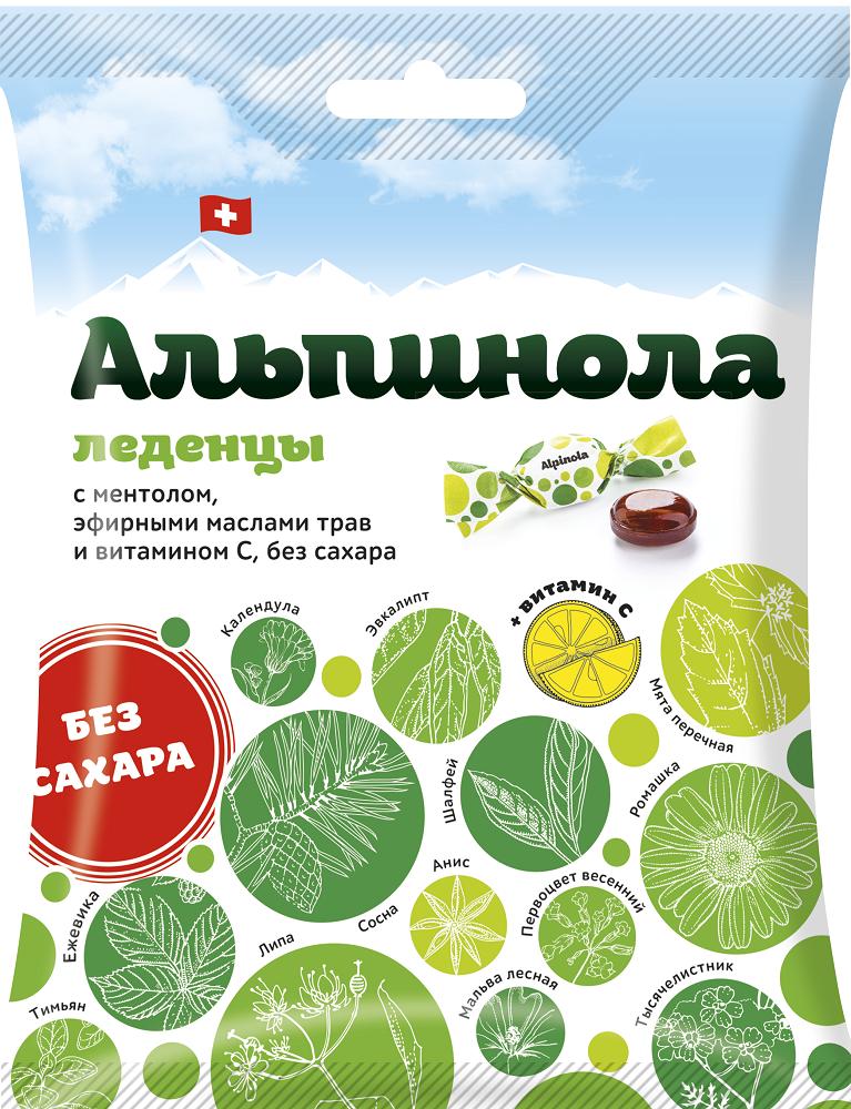 Альпинола леденцы б/сахара ментол-эфирные масла трав-витамин с 75г