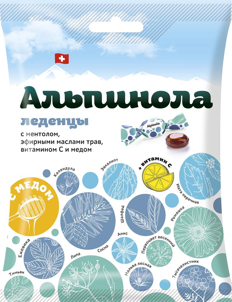 Альпинола леденцы ментол-эфирные масла трав-витамин с-мед 75г