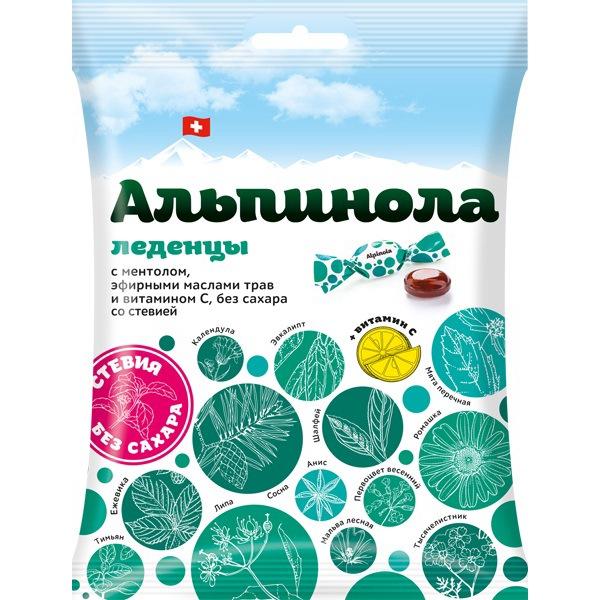 Альпинола леденцы с ментолом эфирными маслами трав и витамином с без сахара со стевией пак 75 г