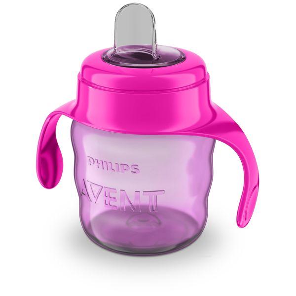 АВЕНТ Чашка-поильник с носиком из силикона с 6 мес. розовая 200мл (SCF551/03)