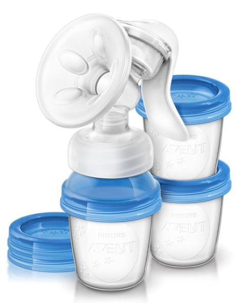 Авент комфорт натурал молокоотсос ручной 3 контейнера д/молока (86530/scf330/12)