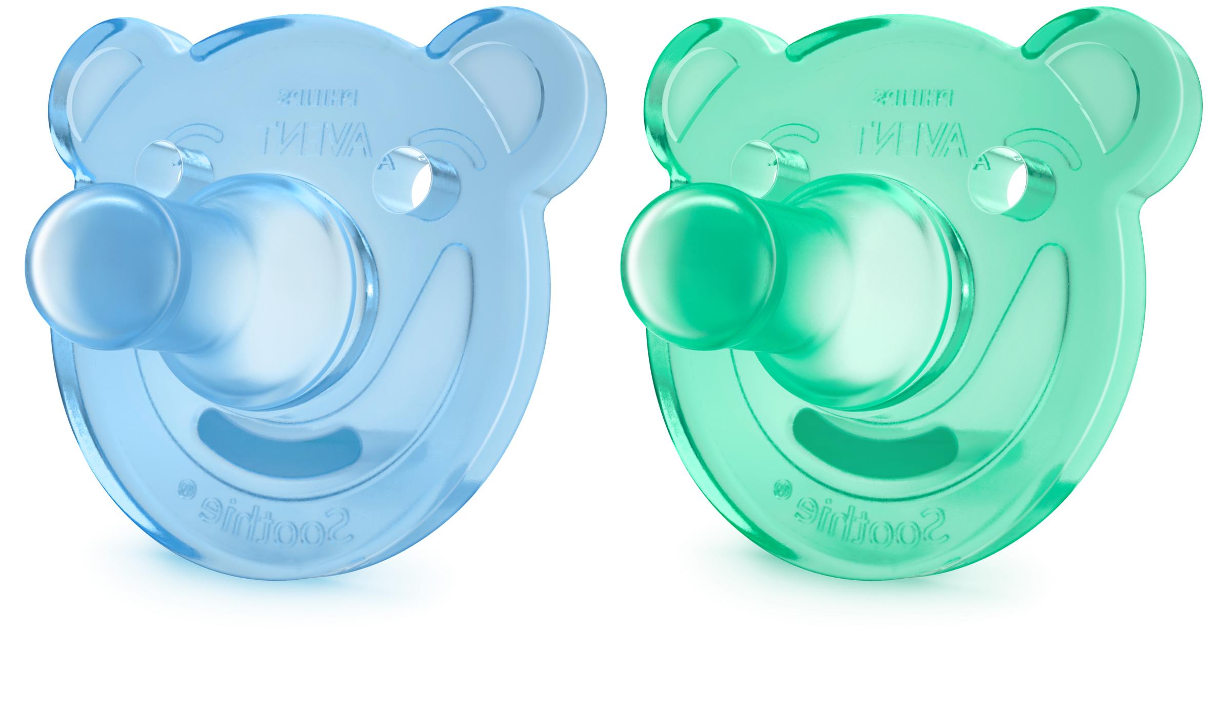 """Avent, Пустышка цельно-силиконовая """"Мишка"""", от 0 до 3 месяцев, 2 шт., для мальчика (SCF194/01)"""