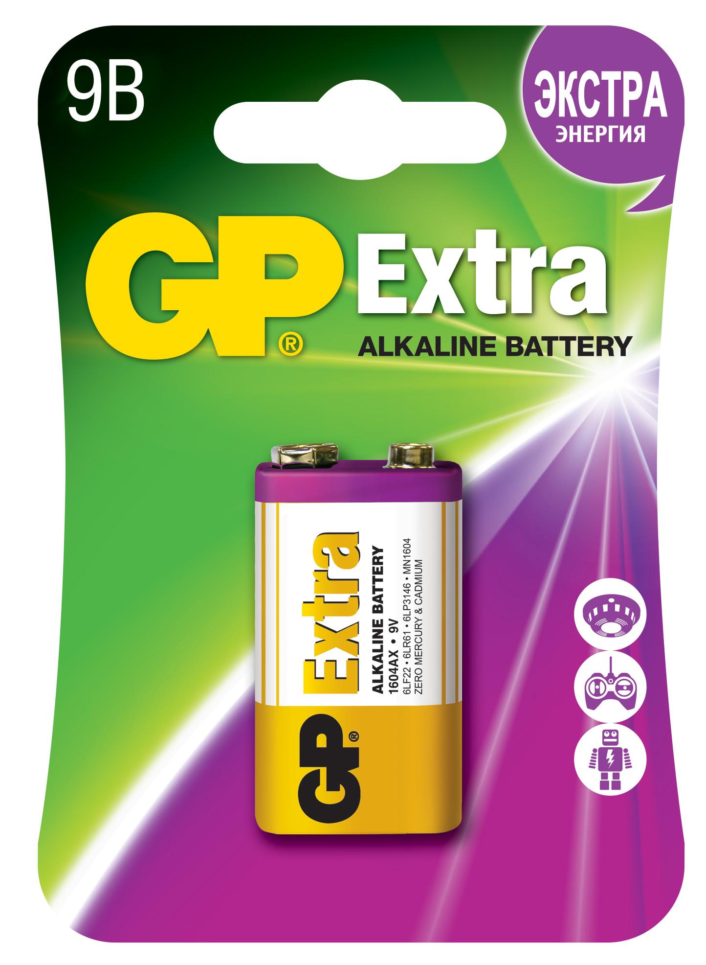 Батарейка алкалиновая gp extra 1604ax-5cr1 9в №1