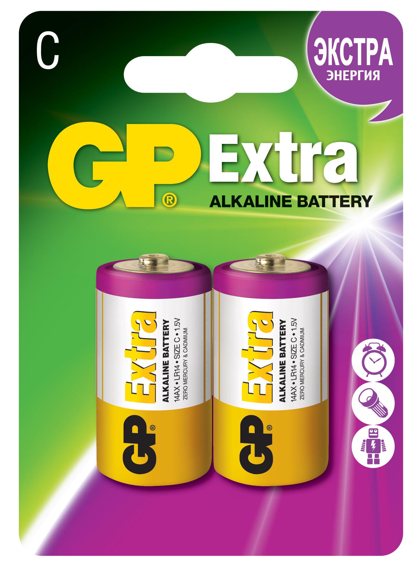 Батарейки алкалиновые gp extra lr14 (c) 1,5в №2