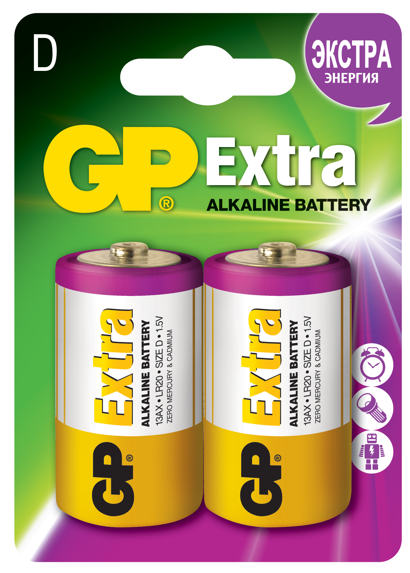 Батарейки алкалиновые gp extra lr20 (d) 1,5в №2