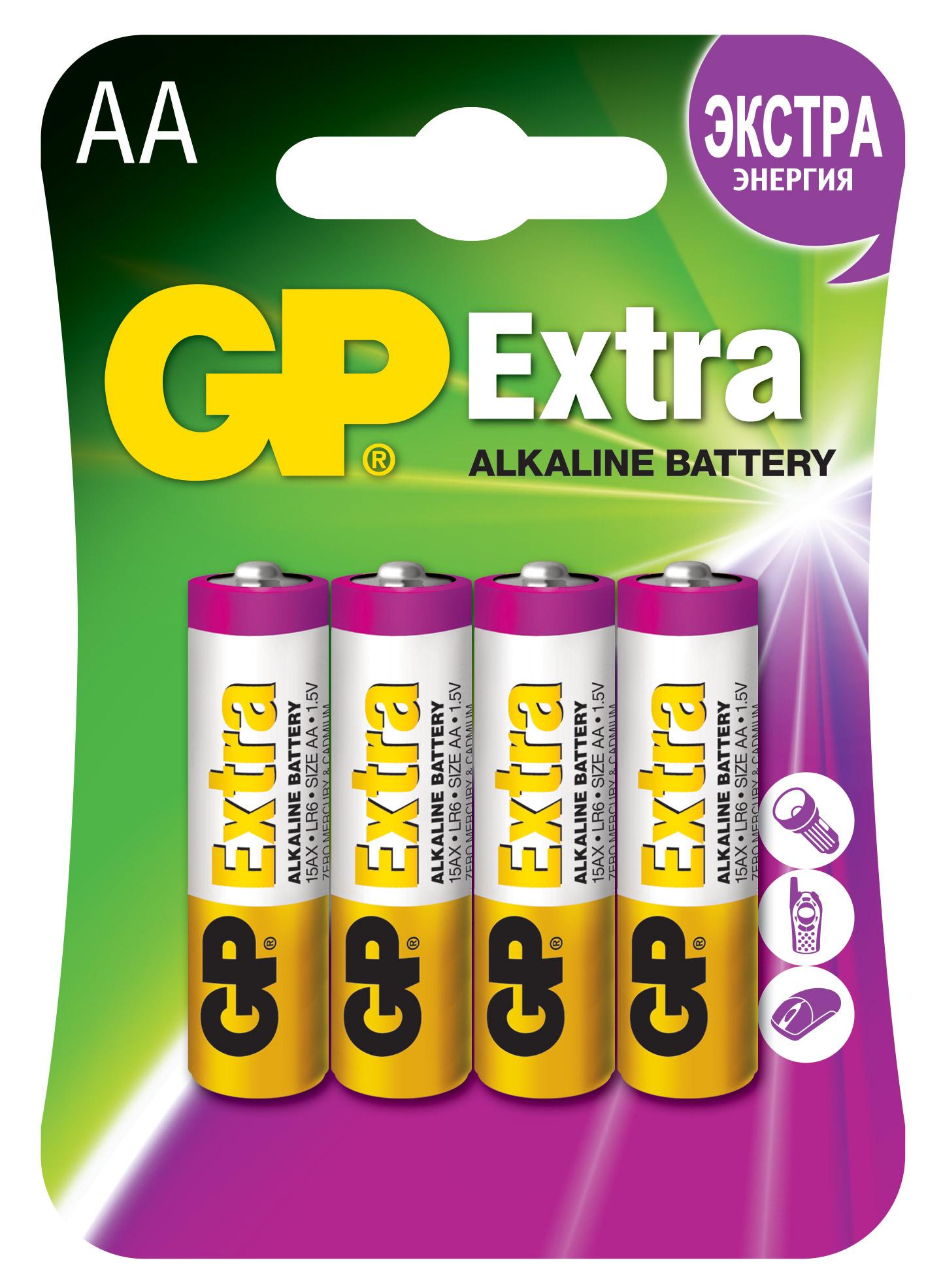 Батарейки алкалиновые gp extra lr6 (аа) 1,5в №4