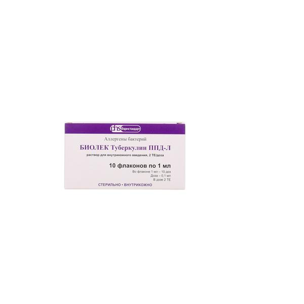 Биолек туберкулин ппд-л р-р для внутрикож. введ. 2те/доза амп. 1мл (10доз по 2те в 0,1мл) №10