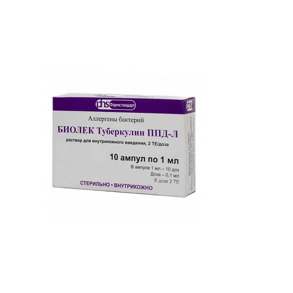 Биолек туберкулин ппд-л р-р для внутрикож. введ. 2те/доза фл. 1мл (10 доз по 2те в 0,1мл) №1