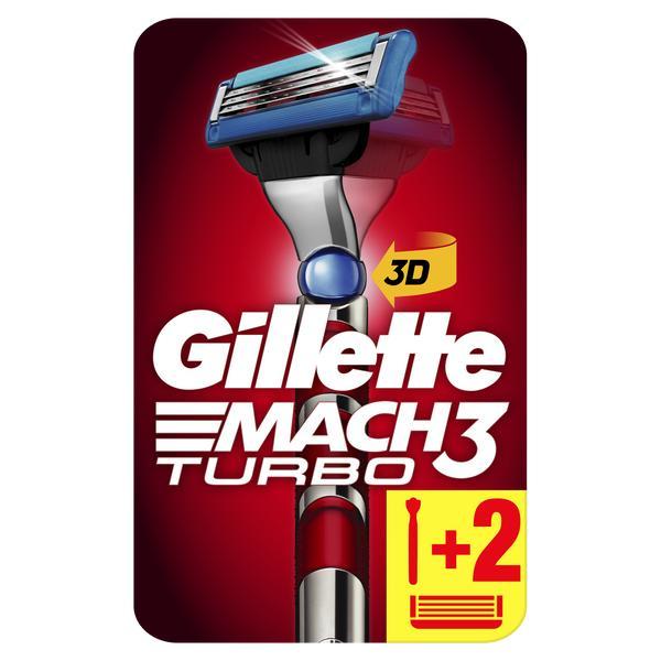 Бритва Gillette (Жиллетт) Mach3 Turbo с 2 сменными кассетами