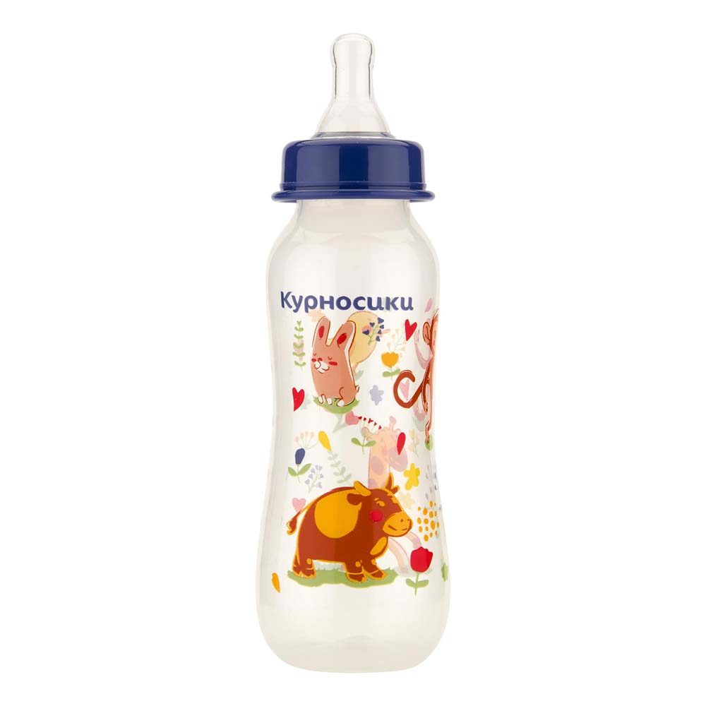 Бутылочка Курносики с 2-мя силиконовыми сосками Зверята 0+ мес. 250 мл
