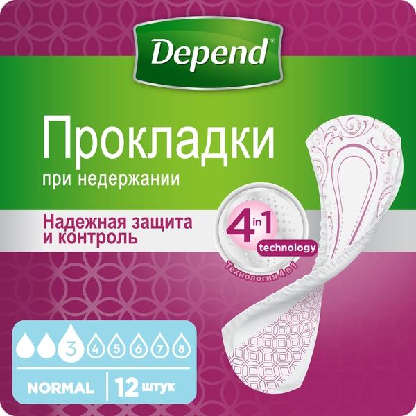 Депенд прокладки при недержании мочи для женщин нормал №12