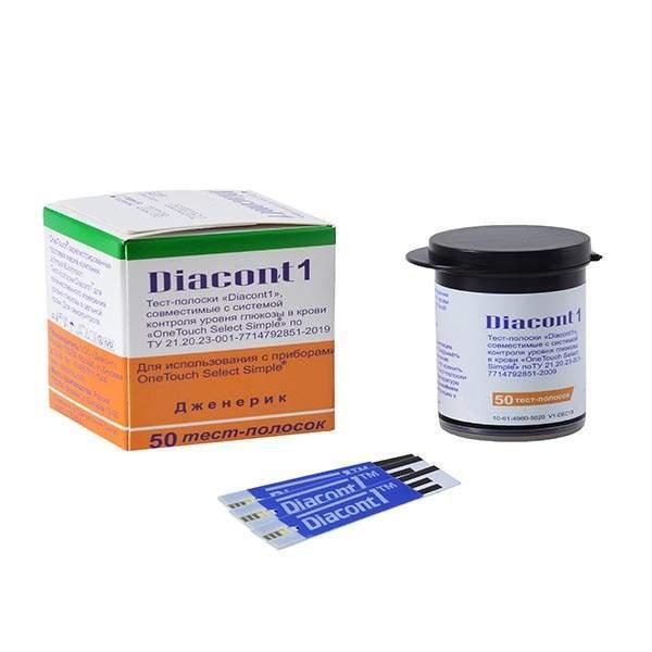 """Диаконт1 тест-полоски совместимые с системой контроля уровня глюкозы в крови """"one touch select simple"""" (комплект 2)№50"""