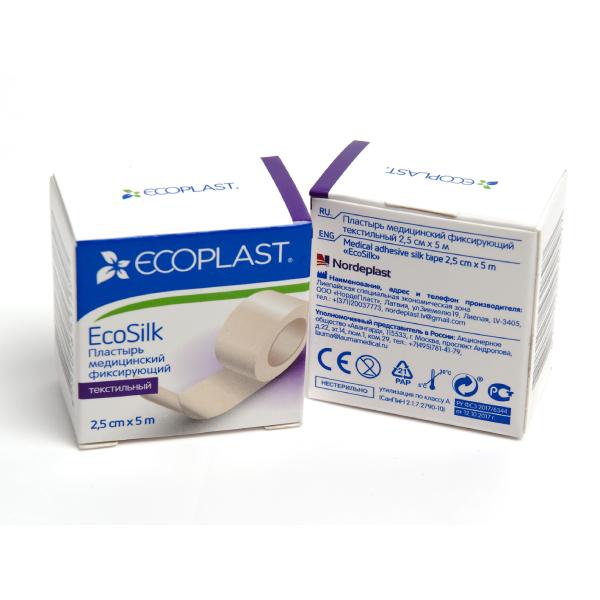 Экосилк пластырь медицинский фиксирующий текстильный 2,5смх5м