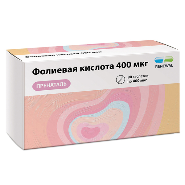 Фолиевая кислота 400 мкг пренаталь таб. 100мг №90 renewal (бад)