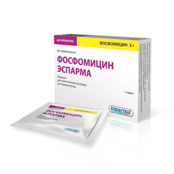 Фосфомицин эспарма пор. для приг. р-ра д/внутр. приема 3г пакет 8г №1