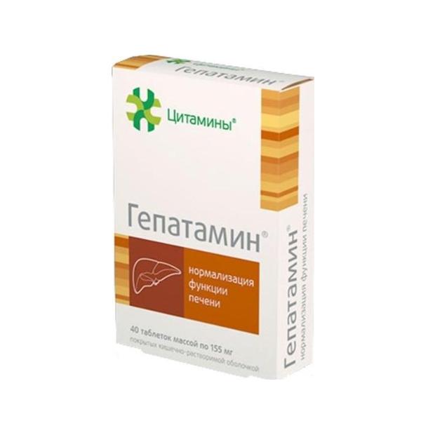Гепатамин таб. п/о кишечнораств. 155мг № 40 (бад)
