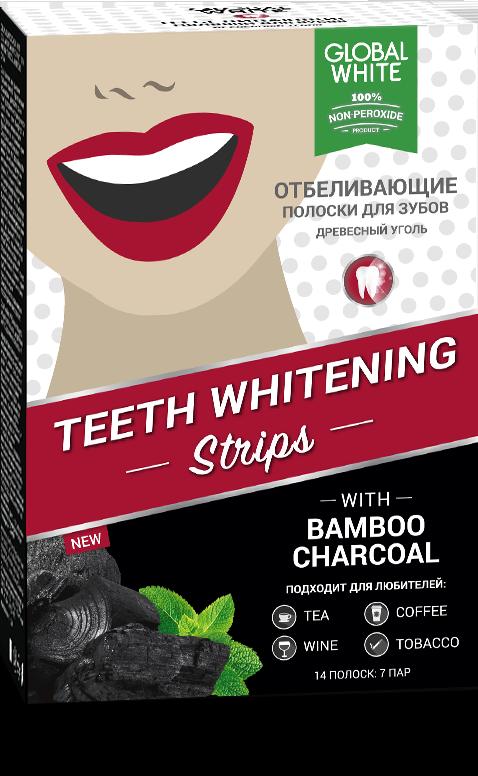 """Глобал вайт полоски отбеливающие для зубов """"древесный уголь"""" без пероксида №7"""