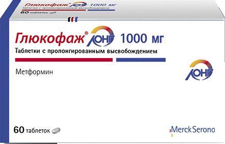 Глюкофаж Лонг табл. с пролонг. высвоб. 1000 мг №60