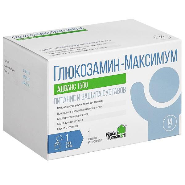 Глюкозамин максимум адванс 1500 пор. д/р-ра внутр саше 10г n14