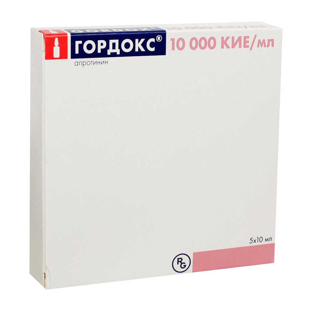 Гордокс р-р в/в введ. 10 000 кие/мл амп 10мл №5