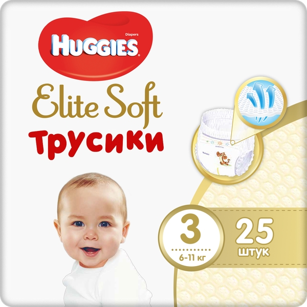 Хаггис подгузники-трусики детские одноразовые элит софт 3 (6-11кг) №25