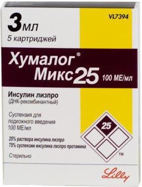 Хумалог микс 25 сусп. д/ин 100ед/мл 3мл n5