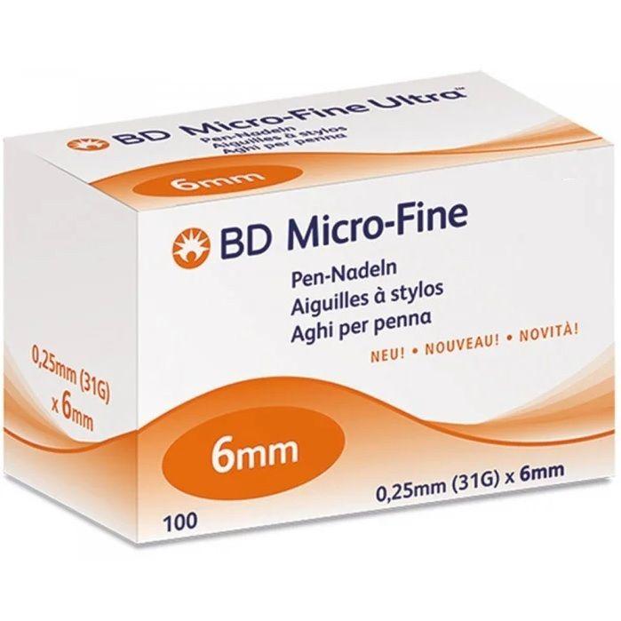 Игла для шприц-ручки bd micro-fine plus 0,25 мм (31g)х6 мм одноразового использования №100