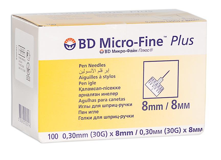 Иглы bd микро-файн плюс д/шприц-ручки 30g 0,3х8мм n100
