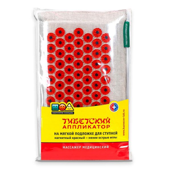 Иппликатор мед. тибетский на мягкой подложке д/ступней массажный коврик (красный)
