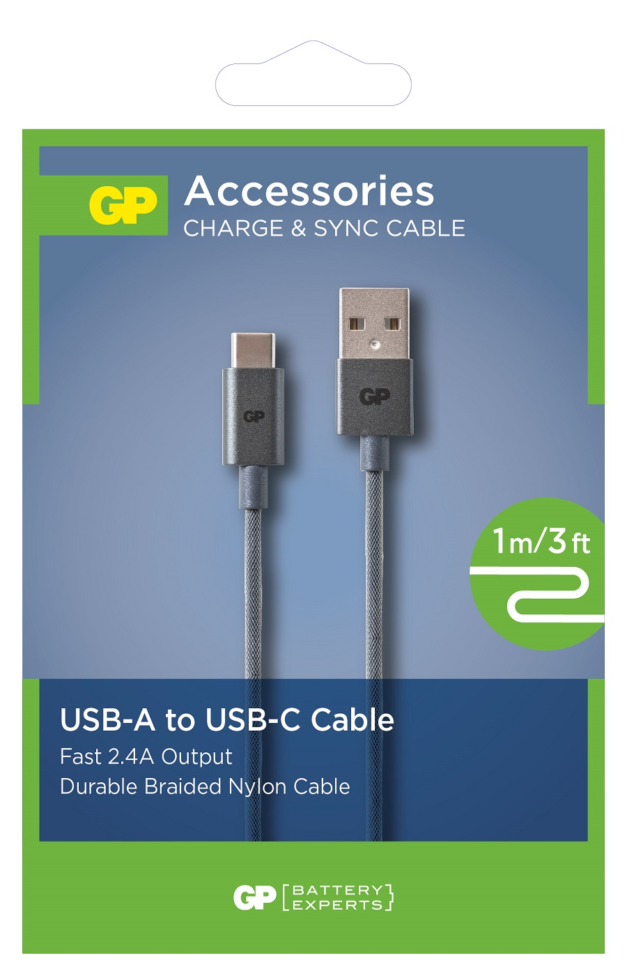 Кабель-usb для электронных устройств GP (Джи пи) USB-A к USB-C 1 м. 1 шт.