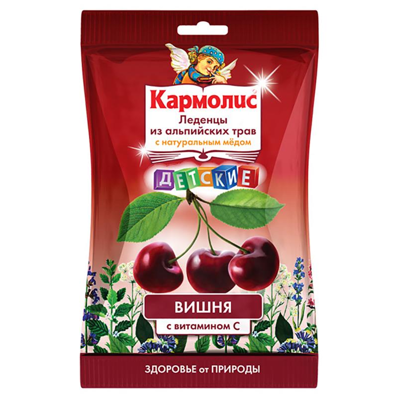 Кармолис леденцы с медом и витамином с детские вишня пак. 75г