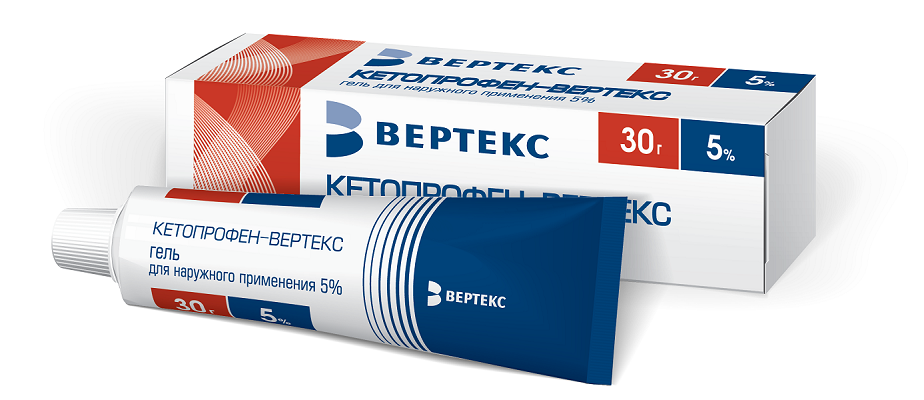Кетопрофен-вертекс гель д/нар. прим. 5% 30г (туба) №1