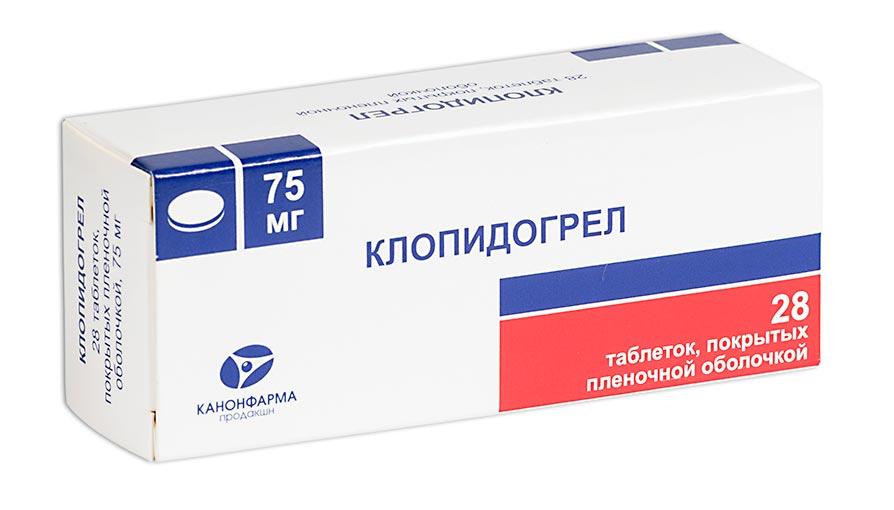 Клопидогрел таблетки п.п.о. 75мг №28 Канонфарма