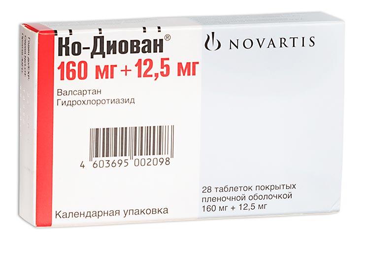 Ко-диован таб. п.о 160мг+12,5мг n28