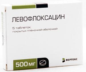 Левофлоксацин таблетки п.п.о. 500мг №5 Вертекс