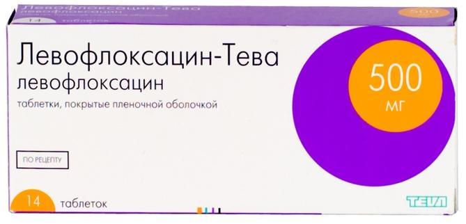 Левофлоксацин-тева таб. п.п.о. 500мг n14