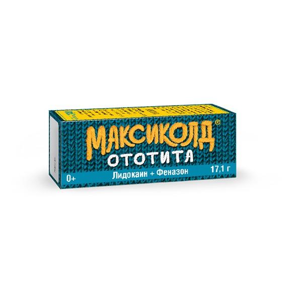 Максиколд ототита капли ушные 1%+4% фл.-кап. 15мл №1