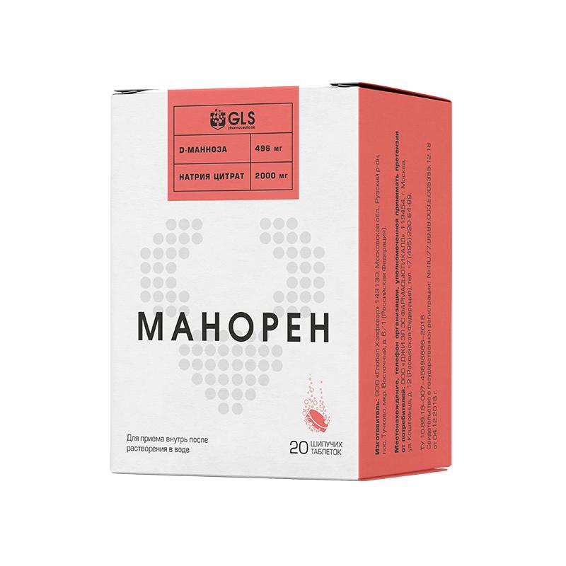 Манорен со вкусом персик-маракуйя таб. шип. 4г №20 (бад)