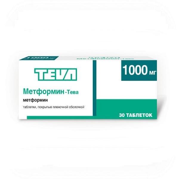 Метформин-тева таб. п.п.о. 1000мг n30