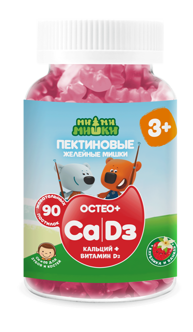 Ми-ми-мишки остео+ кальций и витамин д жев. пастилки пектиновые 2 г №90 (бад)