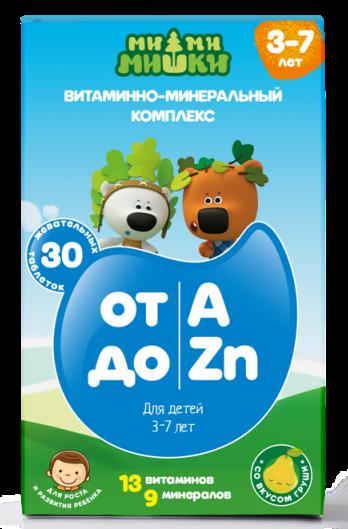 Ми-ми-мишки витаминно-минеральный комплекс от а до zn для детей 3-7 лет, жев.таб. 860 мг №30 (бад)