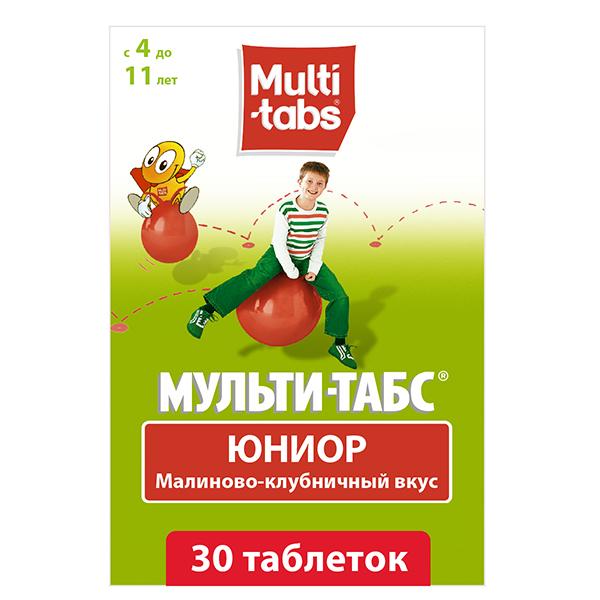 Мульти-табс юниор таб. жев. малина-клубника n30