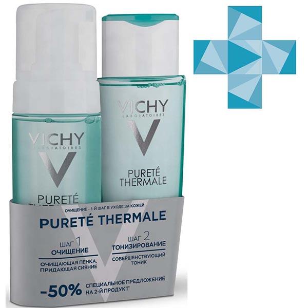 Набор Vichy (Виши) Purete Thermale тоник совершенствующий для чувствительной кожи 200 мл + пенка очищающая придающая сияние для чувствительной кожи 150 мл