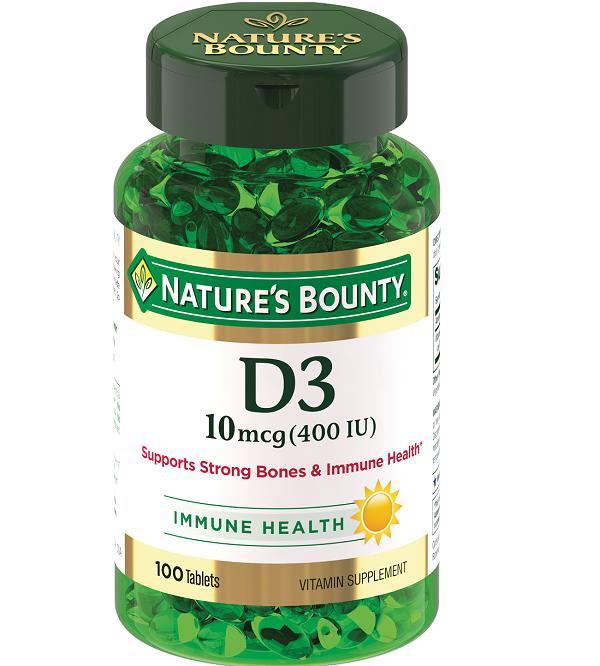 Нэйчес баунти витамин d3 400 ме (d3 10 mcg (400 iu) таб. 250мг №100 (бад)