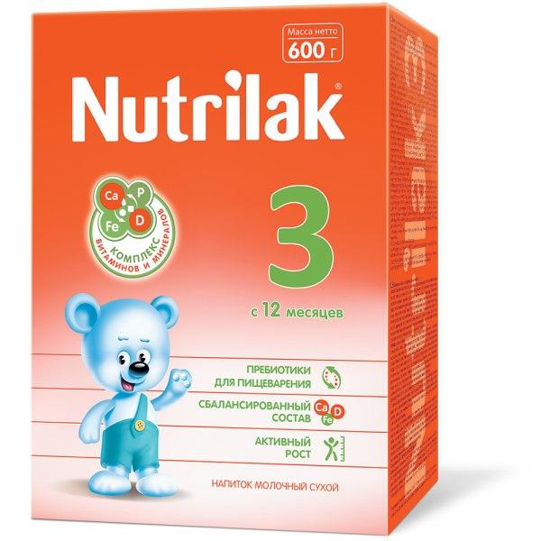 """Нутрилак 3 напиток молочный сухой """"детское молочко"""" для детей раннего возраста 600г"""