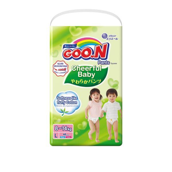 Подгузники-трусики goo.n cheerful baby для мальчиков и девочек разм. l 8-14кг №48