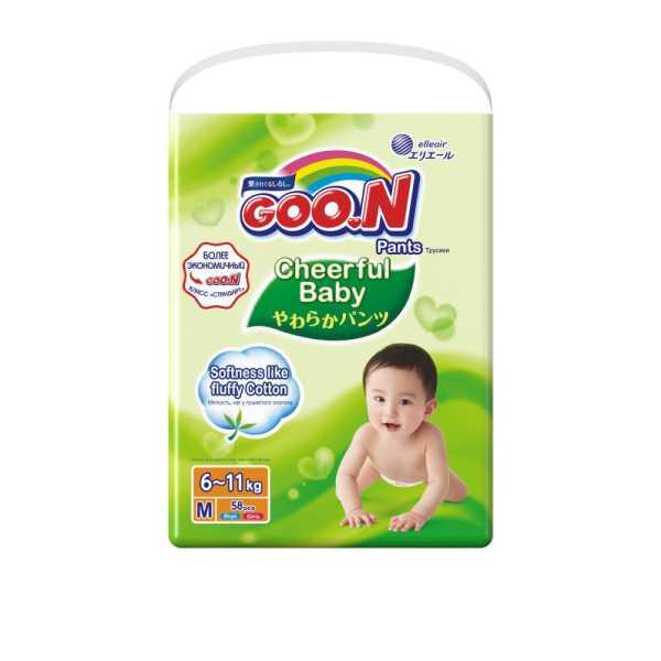 Подгузники-трусики goo.n cheerful baby для мальчиков и девочек разм. m 6-11кг №54